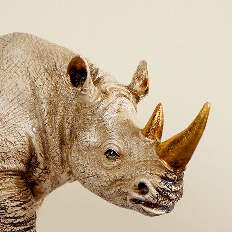 Golden-Horned Rhino Table Accent