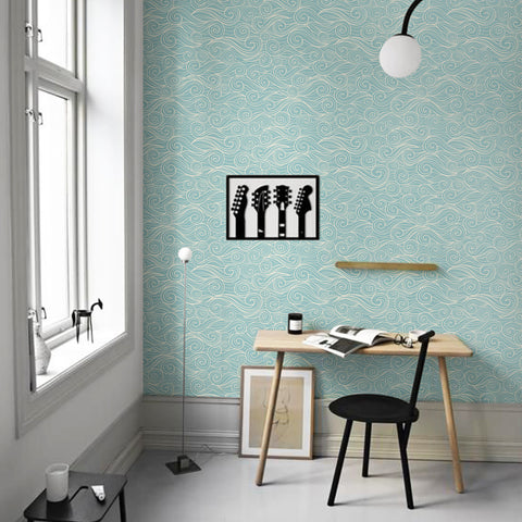 Surrealist Turquoise Waves Printed Textured Self Adhesive Mural Wallpaper