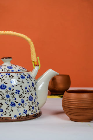 Blue Flora Ceramic Kettle