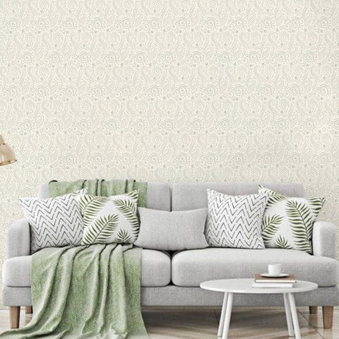 Subtle Paisley Printed Textured Self Adhesive Mural Wallpaper