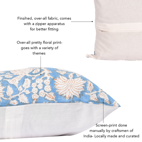 Bohemian Azure Bloom Cotton Cushion Cover - The Artment