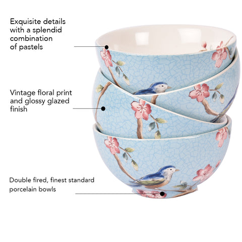 Azure Ixora Dessert Bowls (Set of 6)