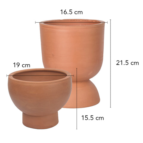 Rivaayat Terracotta Goblet Planter - Small - The Artment