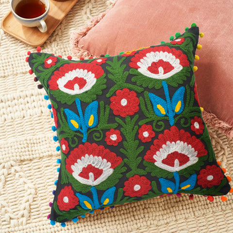 Night Fall Embroidered Cushion Cover