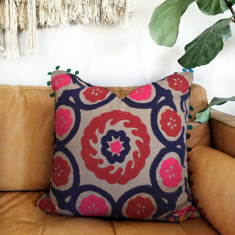 Wild Wreath Embroidered Cushion Cover