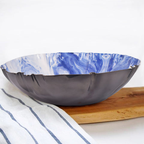 Surreal Marble Effect Deep Ocean Serving Bowl - The Artment