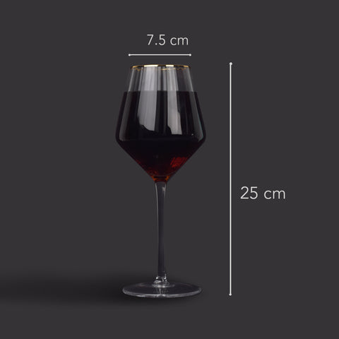 Clear Ribbed Gold Rimmed Red Wine Glass- Set of 6