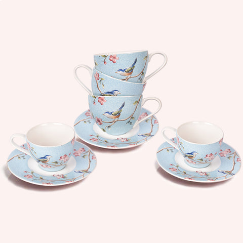 Azure Ixora Teacup And Saucer Set of 6