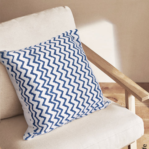 Bohemian Zig Zag Cotton Cushion Cover- Blue