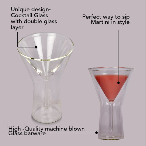 Double Wall Martini Glass - Set of Two