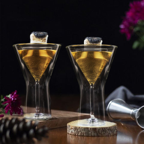 Double Wall Martini Glass- Set of Two