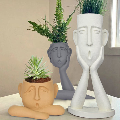 Surprised Faces Planter Set