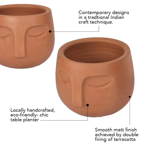 Rivaayat Terracotta Face Planter - The Artment