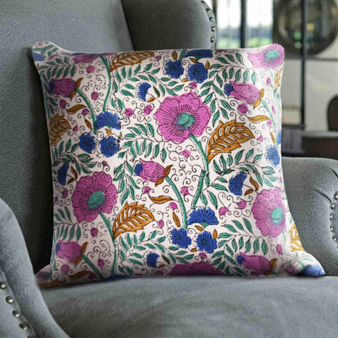 Simply Spring Hand-Block Print Cushion Cover