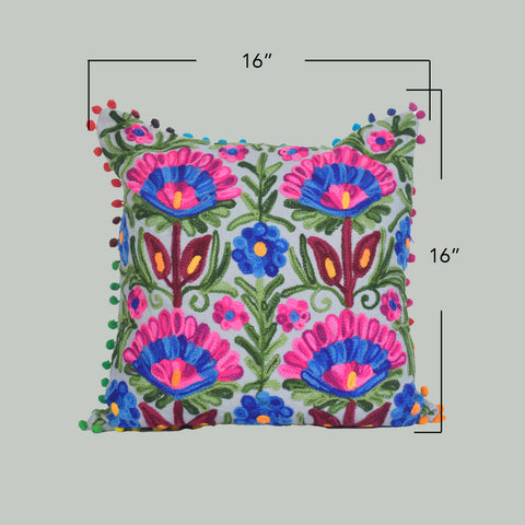 Floral Delight Embroidered Cushion Cover