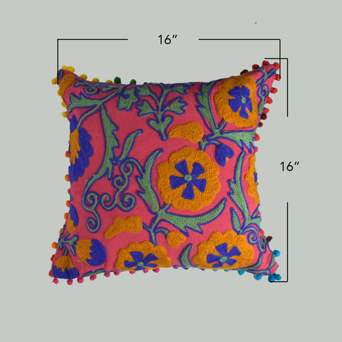 Pink Garden Embroidered Cushion Cover