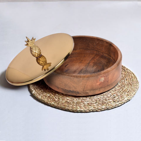 Wooden Casserole With Gold Pineapple Lid