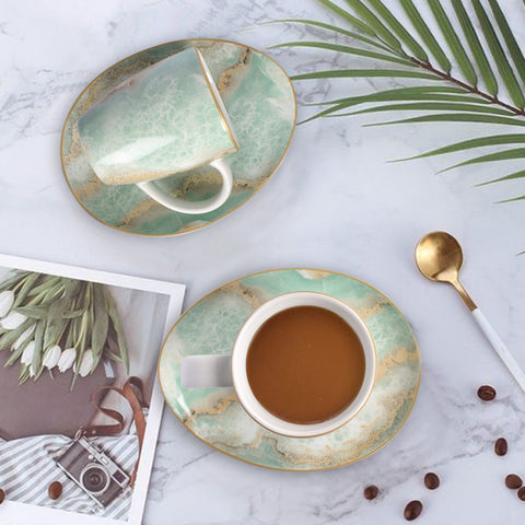 Surreal Luxury Majestic Earth Teacup And Saucer Set of 6