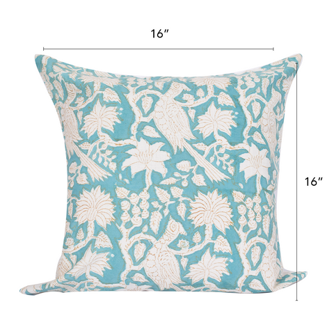 Bohemian Turquoise Bloom Cotton Cushion Cover