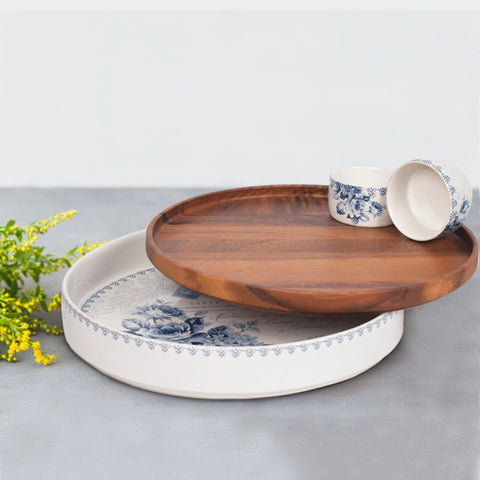 Kraak Floral Chip and Dip Set with Wooden Lid - The Artment