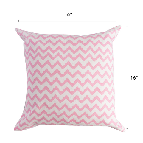 Bohemian Zig Zag Cotton Cushion Cover- Pink