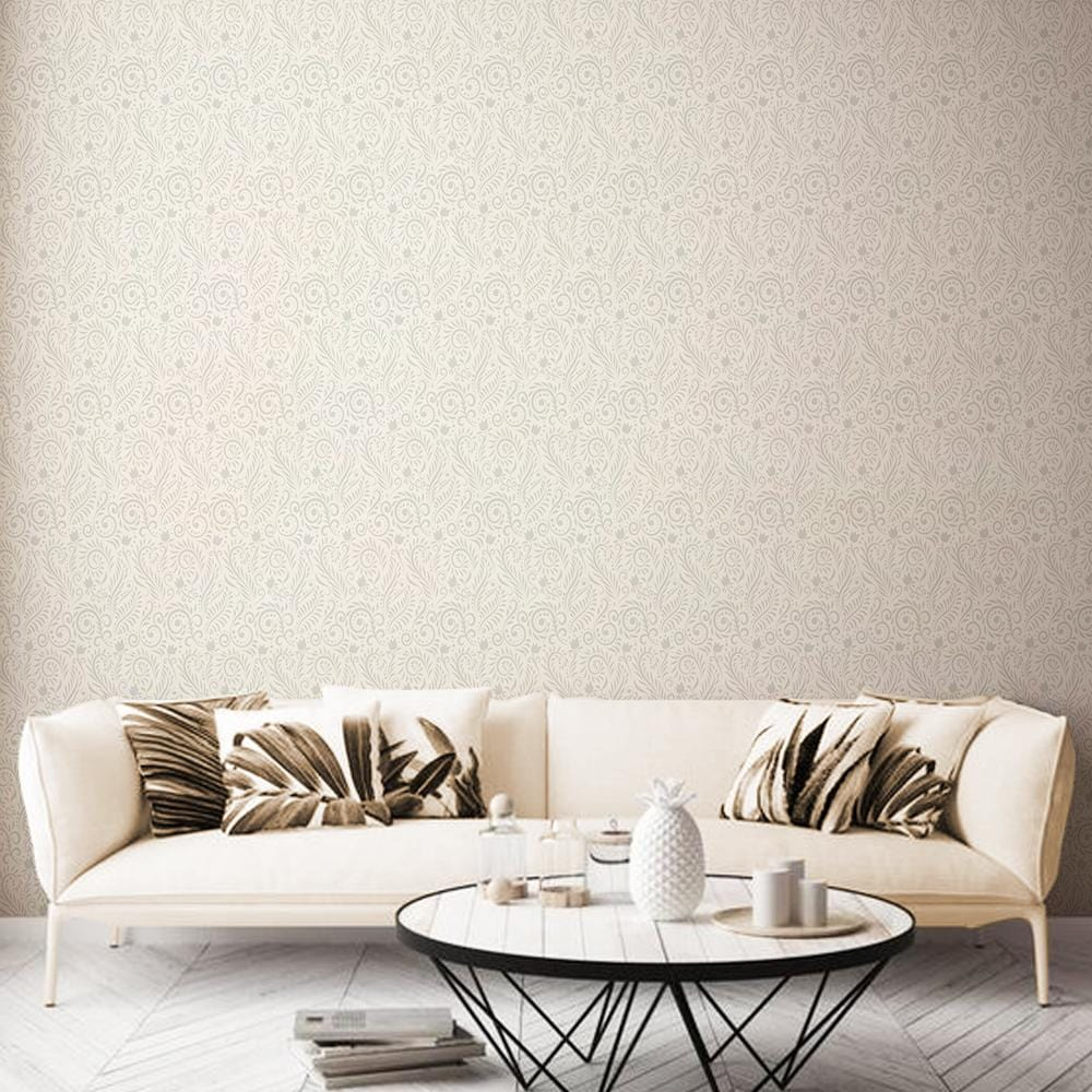 Subtle Paisley Printed Textured Mural Wallpaper - The Artment