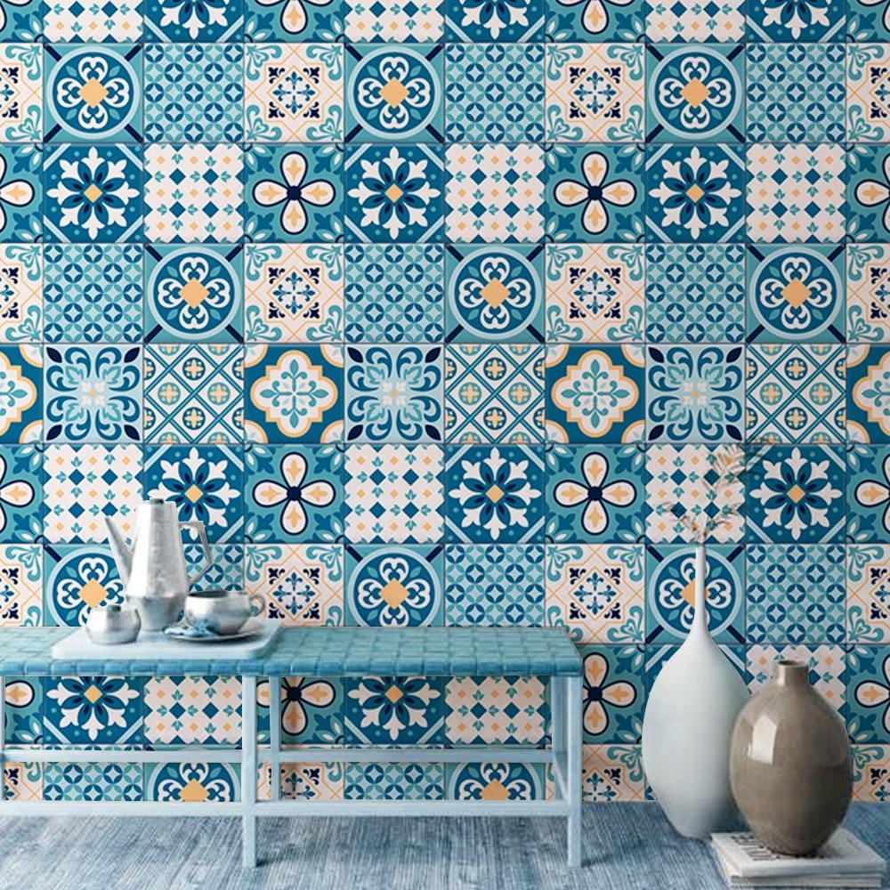 Blue Moroccan Printed Textured Self Adhesive Mural Wallpaper - The Artment