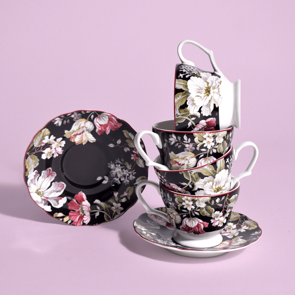 Victorian Black Floral Cup & Saucer Set of 6