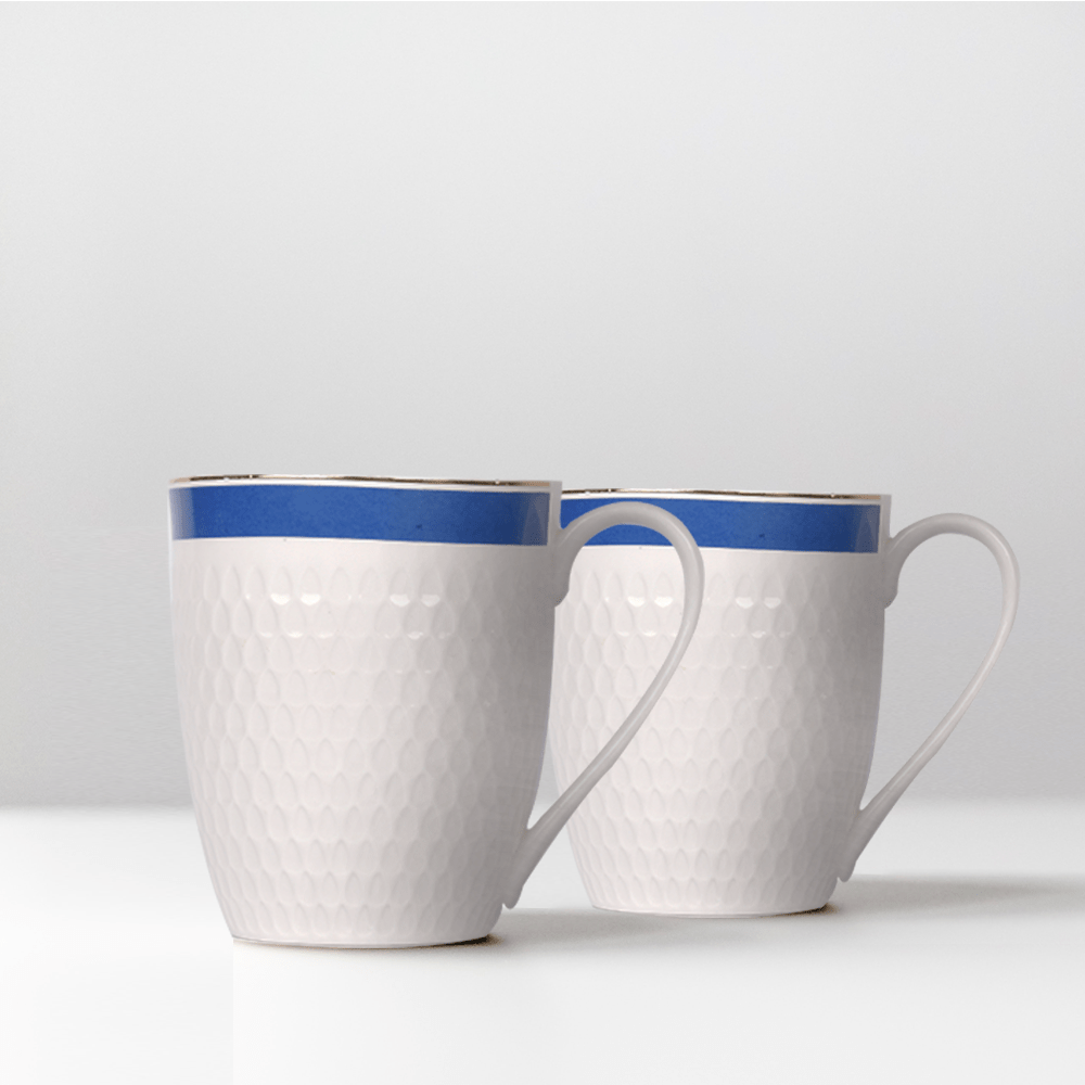 Minimalist Ivory Sailor Mug Set- Blue (Set of 2)