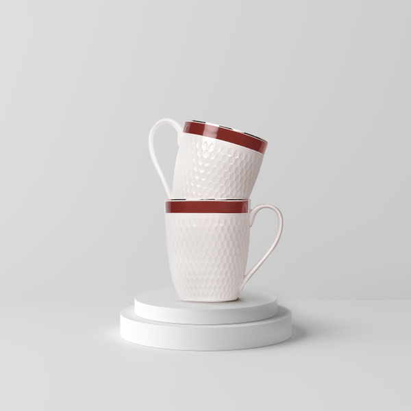 Minimalist Ivory Sailor Mug Set- Red (Set of 2)
