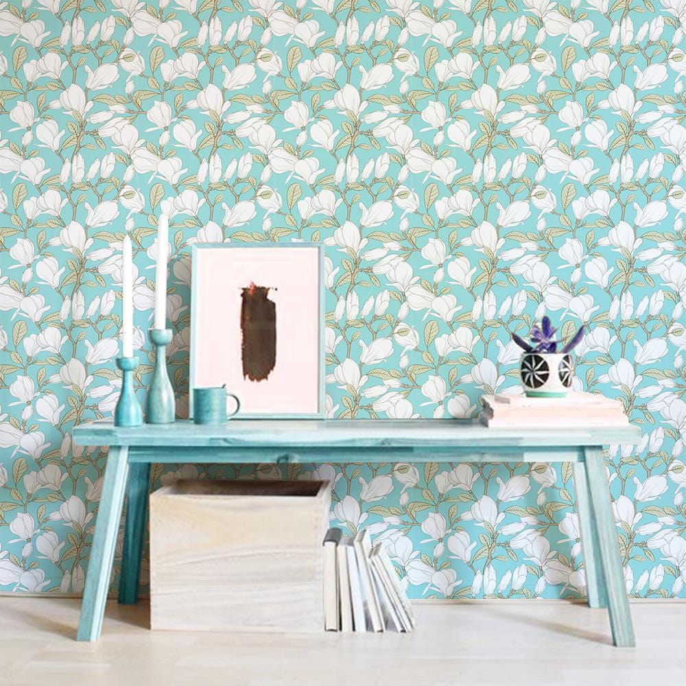 Floral Blues Printed Textured Mural Wallpaper - The Artment