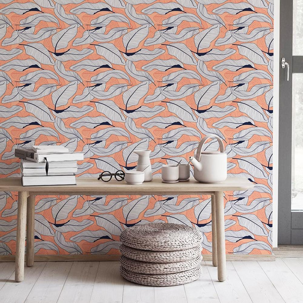Swaying leaves Printed Textured Mural Wallpaper - The Artment