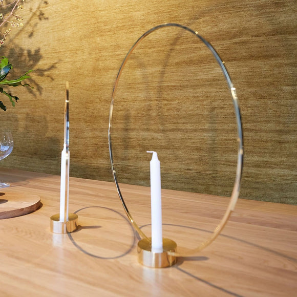 Golden Hoop Candle holders (Set of two)