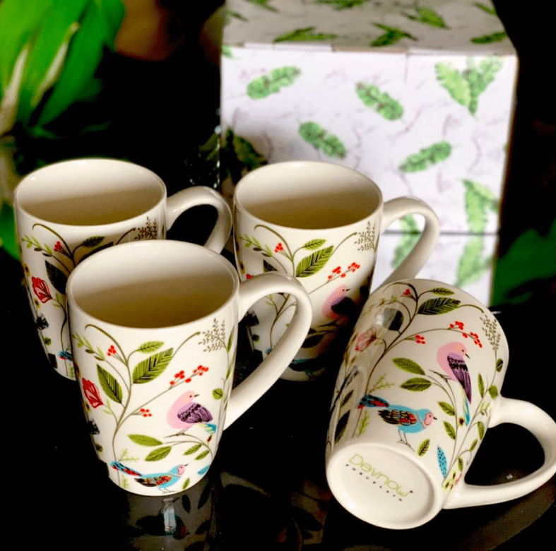 White Spring Floral Mugs (Set of 4)