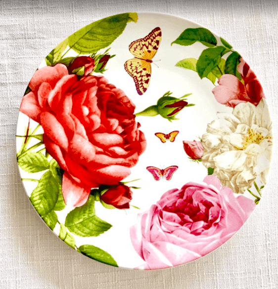 English scarlet floral plate