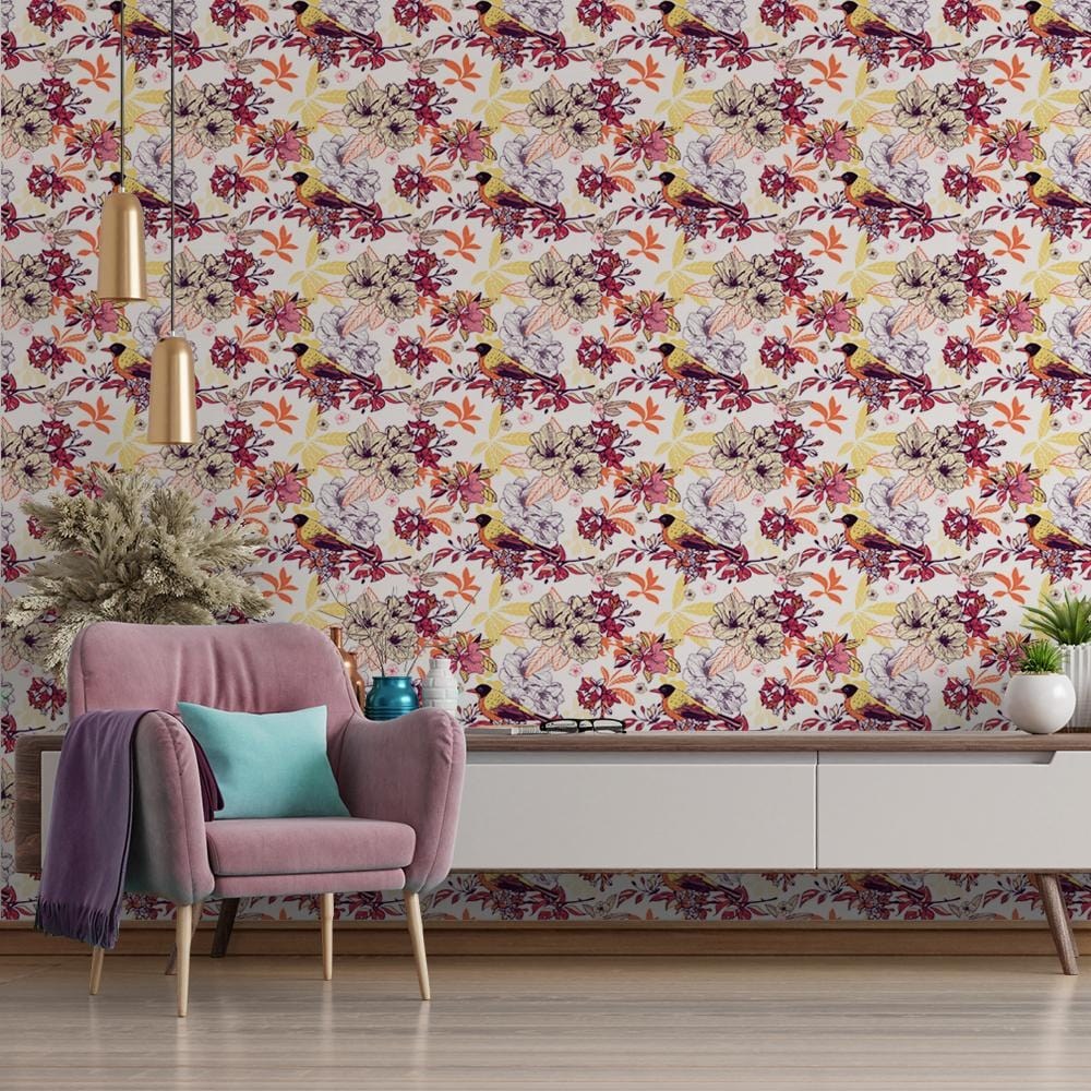 Vibrant Flora Printed Textured Mural Wallpaper - The Artment