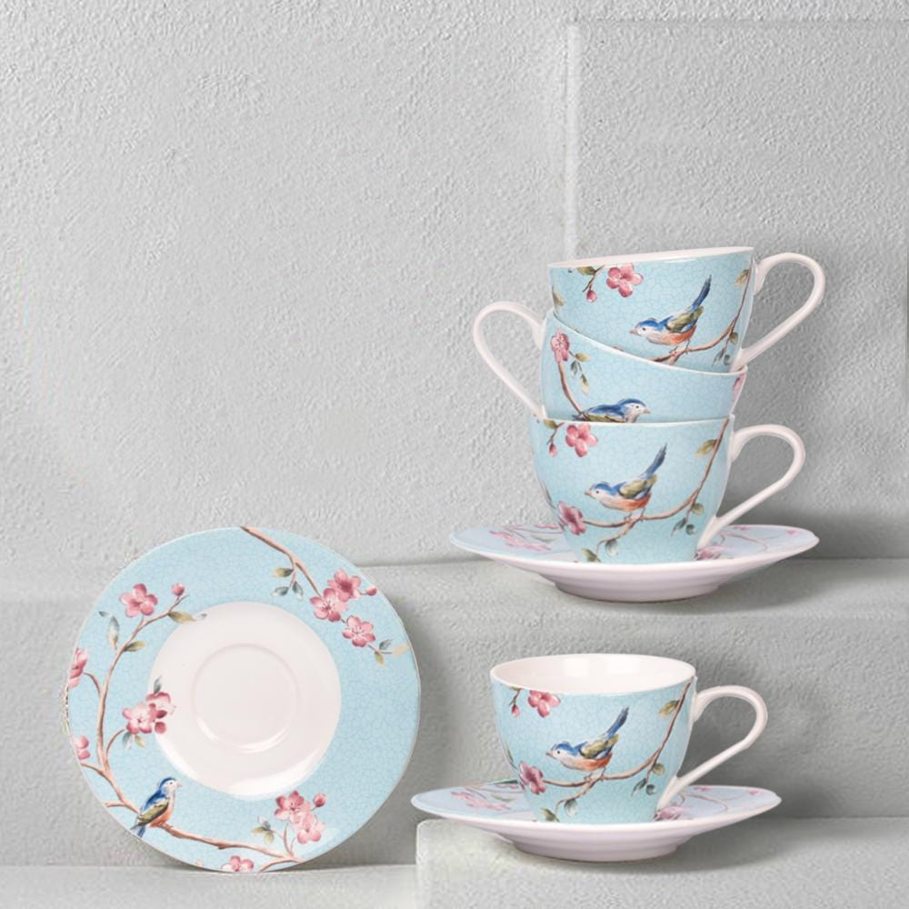 Azure Ixora Teacup and Saucer (Set of 6) - The artment