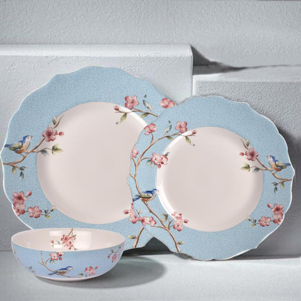 Azure Ixora Plate Set (Dinner and quarter plate set)