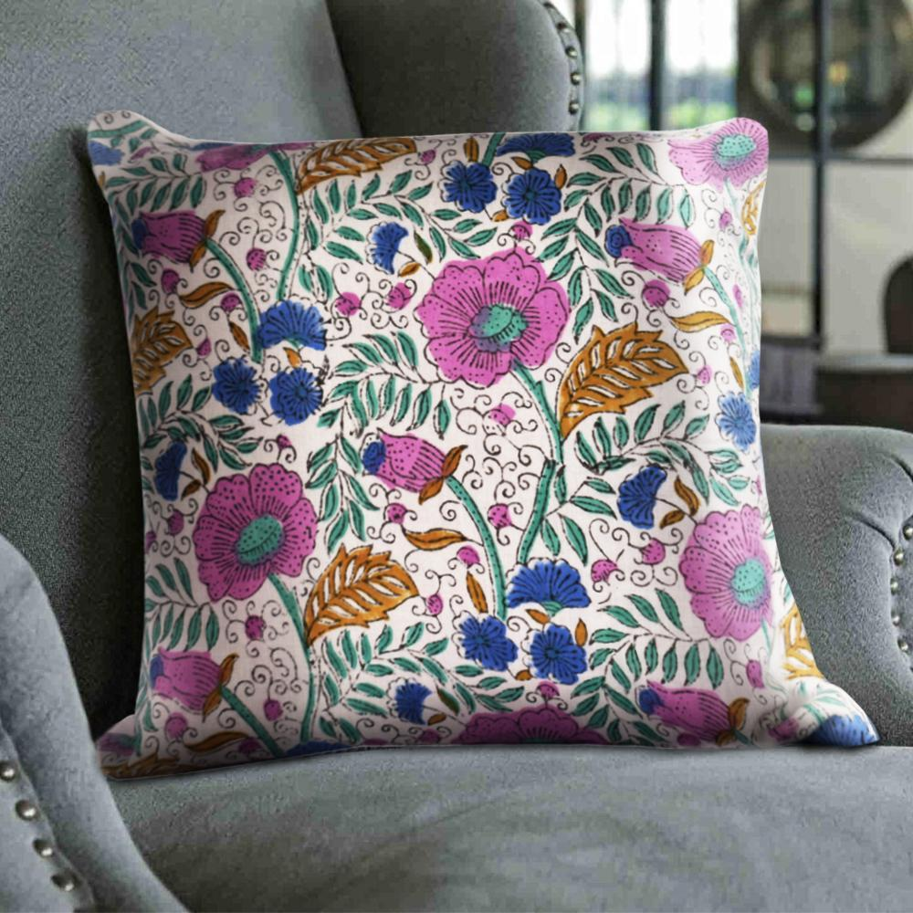 Spring Floral Cushion Cover Set | Hand-Block Print - The artment