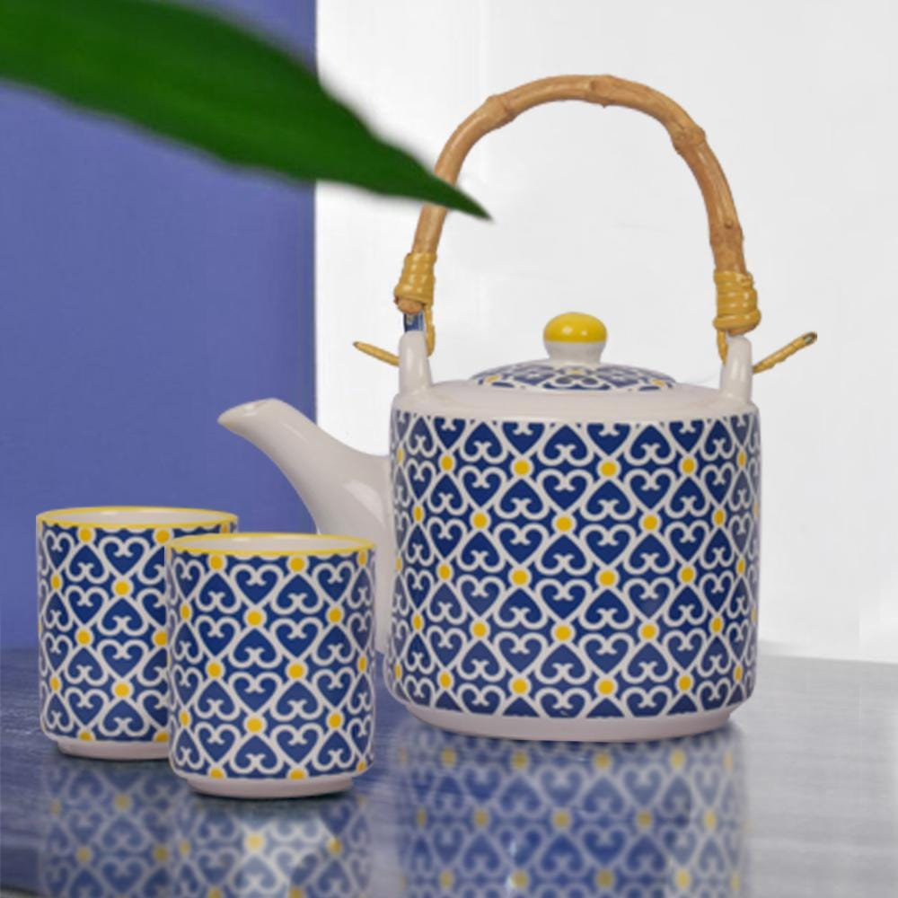 Subtle POP Ethnic Ease teapot and Teacup Set - The Artment
