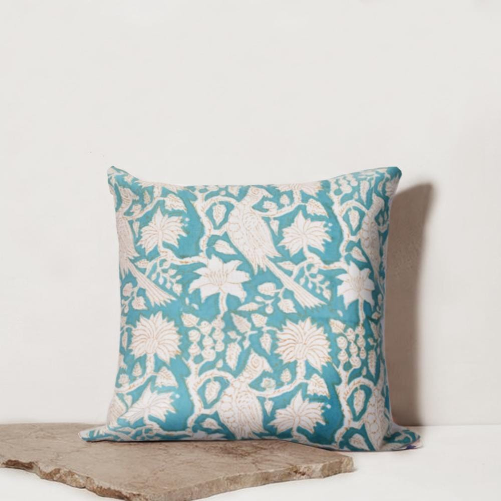 Bohemian Turquoise Bloom Cotton Cushion Set
