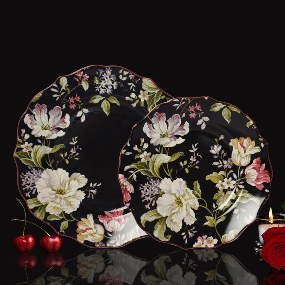 Victorian Black Floral Plate Set (1 Dinner plate + 1 Quarter plate) - The artment