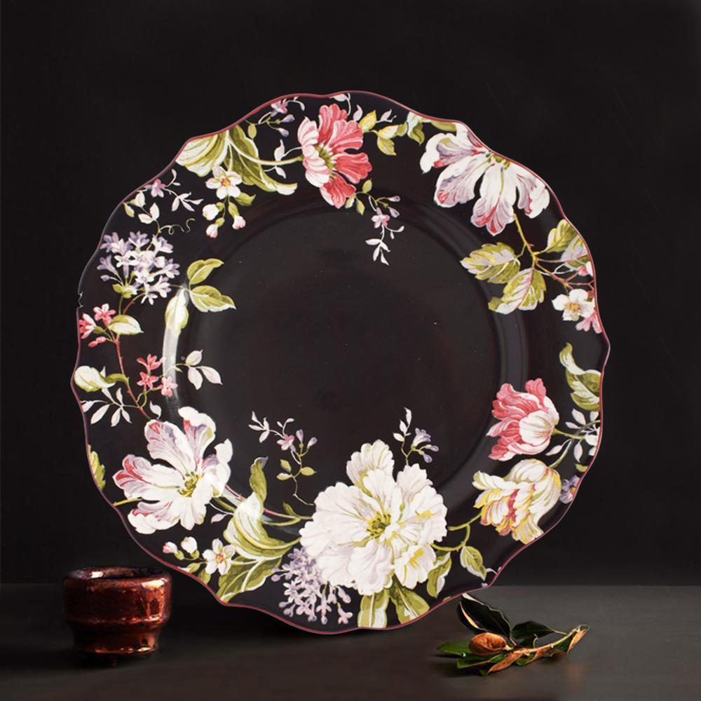 Victorian Black Floral Dinner Plates - The artment