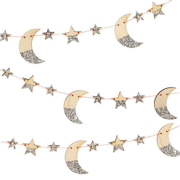Wooden Glitter Moon & Star Garland