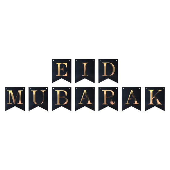 Happy Eid Pennant Banner - Black and Gold