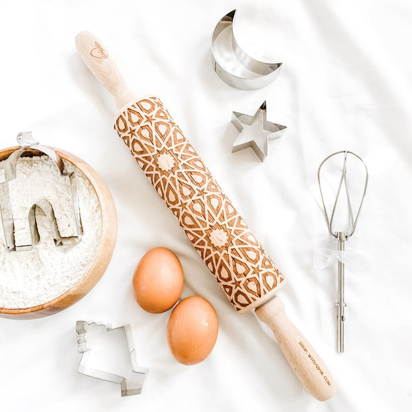 Geometric Engraved Wooden Rolling Pin