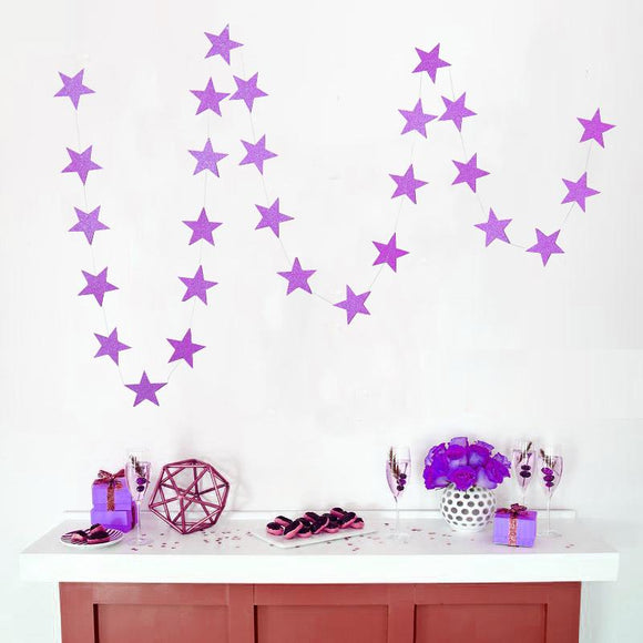 Purple Glitter Star Garland