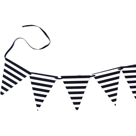 Black and White Stripe Banner
