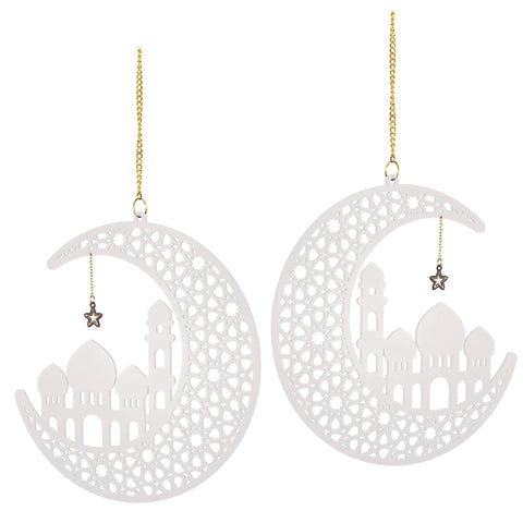 White Wooden Ramadan and Eid Crescent and Star Decoration