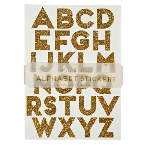 Alphabet Stickers - Gold Glitter - Silver Lining UK